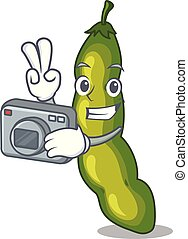 Photographer cartoon fresh green beans for cooking