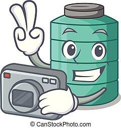 Photographer cartoon water tank on the tower vector...