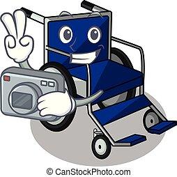 Photographer cartoon wheelchair in a hospital room