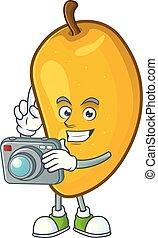 Photographer character mango fruit with cartoon mascot