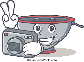 Photographer colander utensil character cartoon vector...