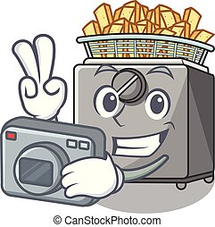 Photographer cooking french fries in deep fryer cartoon...
