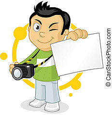 Photographer - Cool cartoon photographer showing blank photo...