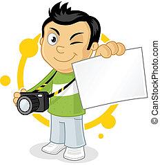 Cool cartoon photographer showing blank photo print vector illustration.