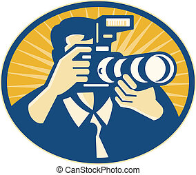 Illustration of a photographer shooting DSLR camera with flash and zoom lens set inside ellipse done in retro style.