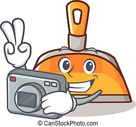 Photographer dustpan character cartoon style vector...