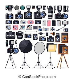 Photographer Equipment Icons in Flat Style