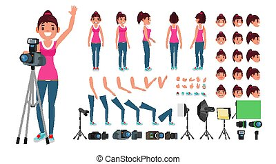 Photographer Female Vector. Animated Woman Creation Set. Full Length, Front, Side, Back View. Isolated Flat Cartoon Illustration
