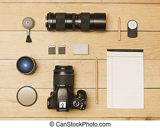 Photographer flat lay - Photographer accessories in flat lay...
