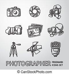 Photographer freehand icons set with - shutter, camera, photos, shooting photographers, flash, tripod, spotlight. Vector