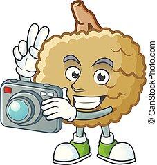 Photographer fresh marolo fruit character mascot in cartoon