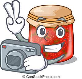 Photographer fresh tasty strawberry jam on mascot vector...