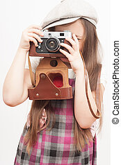photographer girl on a white background