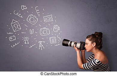 Photographer girl shooting photography icons - Young ...