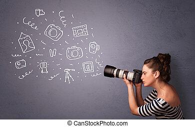 Photographer girl shooting photography icons - Young...