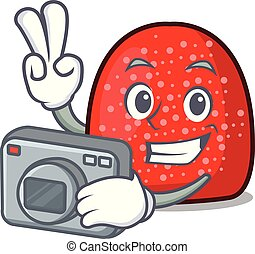 Photographer gumdrop mascot cartoon style vector ...
