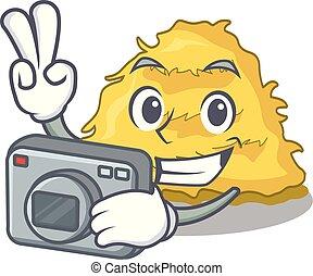Photographer hay bale mascot cartoon vector illustration