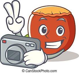Photographer hazelnut mascot cartoon style