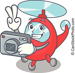 Photographer helicopter mascot cartoon style