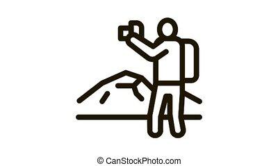 photographer hiking Icon Animation. black photographer hiking animated icon on white background