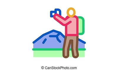 photographer hiking Icon Animation. color photographer hiking animated icon on white background