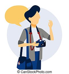 Photographer holding camera and showing ok sign.