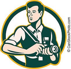 Photographer Holding DSLR Camera Retro - Illustration of a...