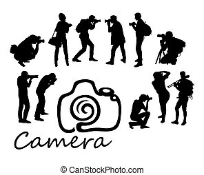 Photographer Hunting Activity Silhouettes
