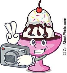 Photographer ice cream sundae mascot cartoon vector...