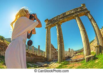 Photographer in Greek Temple