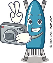 Photographer iron board mascot cartoon