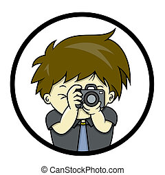 Photographer is taking a picture with SLR, isolated on circle