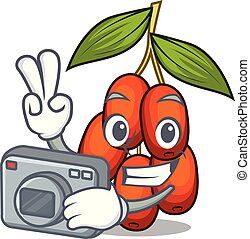 Photographer jujube fruit in the shape mascot vector illustration