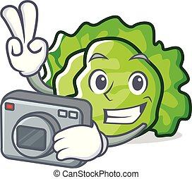 Photographer lettuce character cartoon style