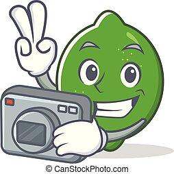 Photographer lime mascot cartoon style