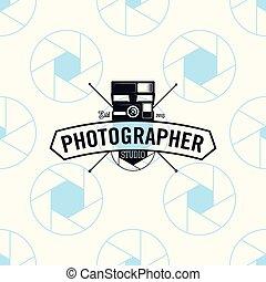 Photographer logo on seamless pattern camera shutter, vector illustration