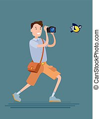 Photographer male character - Flat style vector photographer...