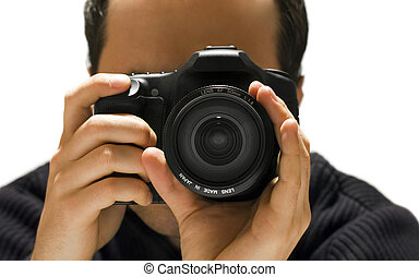 Man with photo camera isolated on white background