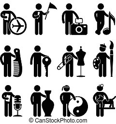 A set of niche job and occupation in pictogram.
