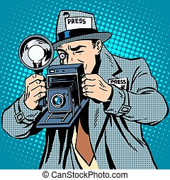 Photographer paparazzi at work press media camera. Pop art ...