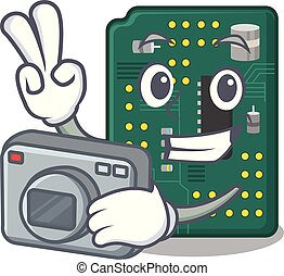Photographer PCB circuit board in PC characters vector...