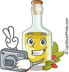 Photographer Pistachio oil in a character bottle