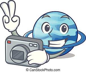Photographer planet uranus in the cartoon form vector...