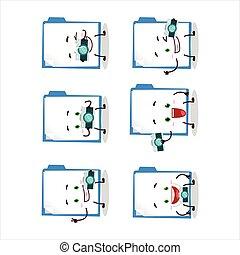 Photographer profession emoticon with blue manila folder ...