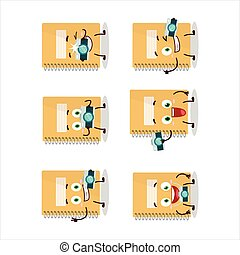 Photographer profession emoticon with brown spiral notebooks cartoon character