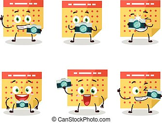Photographer profession emoticon with calendar cartoon character
