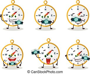 Photographer profession emoticon with compass cartoon character