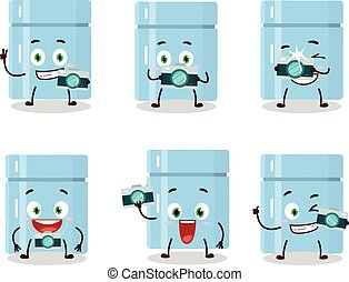 Photographer profession emoticon with fridge cartoon character