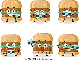 Photographer profession emoticon with hamburger cartoon character