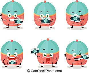 Photographer profession emoticon with hat cartoon character